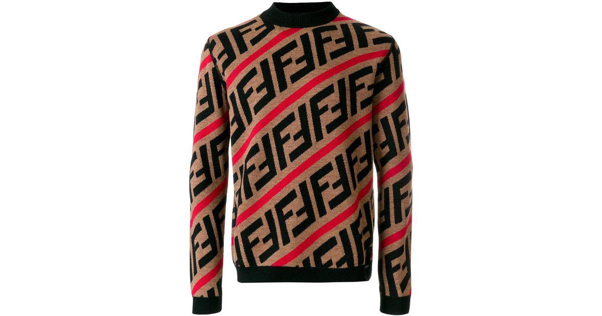 Lyst - Pull à motif monogrammé intarsia Fendi pour homme en coloris Rouge 250f51f9f91
