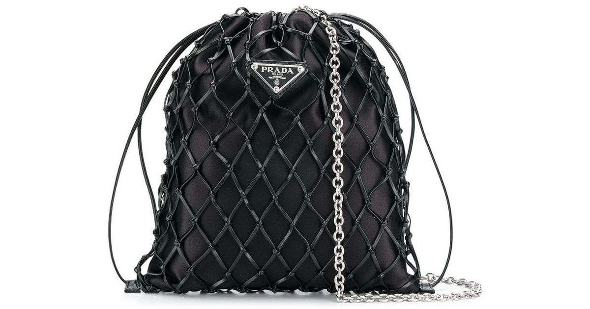 Lyst - Prada Mesh Bucket Bag in Black b49544f9363af