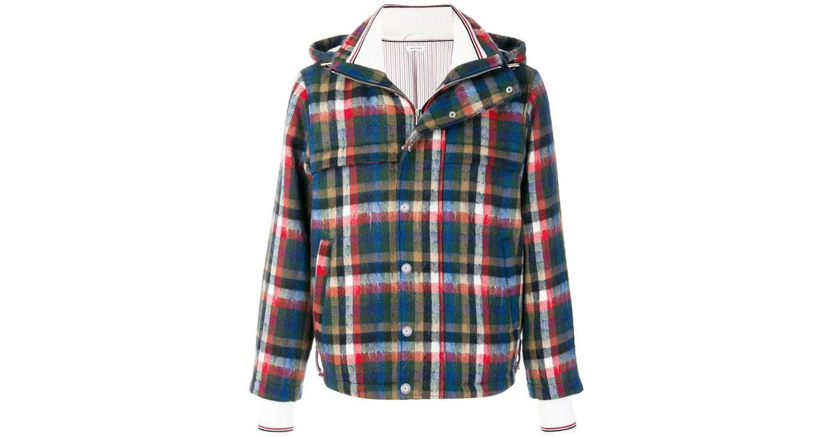 b98ebd1ce12 Lyst - Thom Browne Gingham Tartan Down-filled Hairy Mohair Tech Jacket for  Men