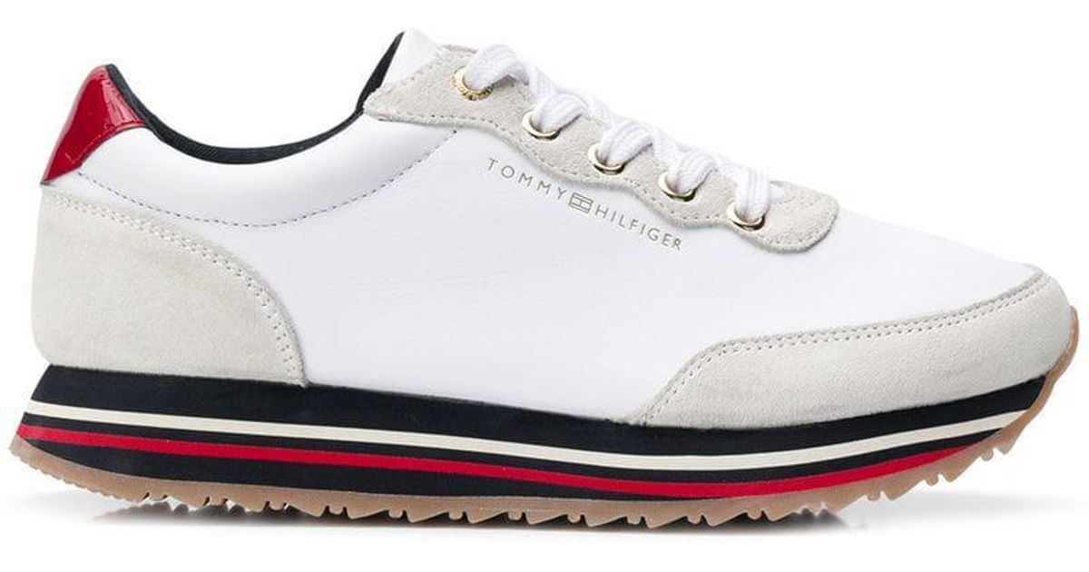 5b14507bae0 Lyst - Tommy Hilfiger Platform Lace-up Sneakers in White