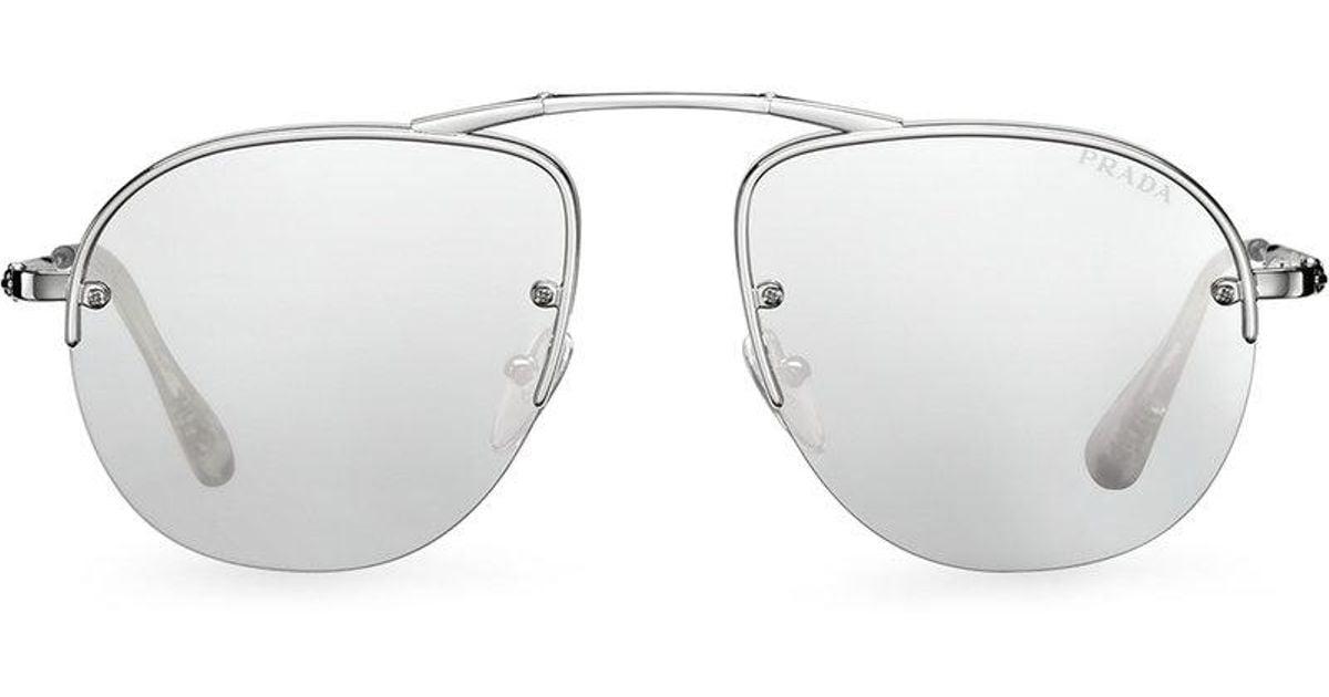 93b6e61006 Prada Teddy Foldable Aviator Sunglasses in Metallic for Men - Lyst
