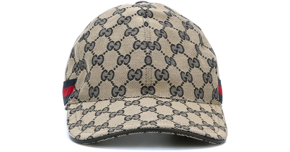 Lyst - Gucci  original Gg  Baseball Cap With Web in Gray for Men eb74e741e81