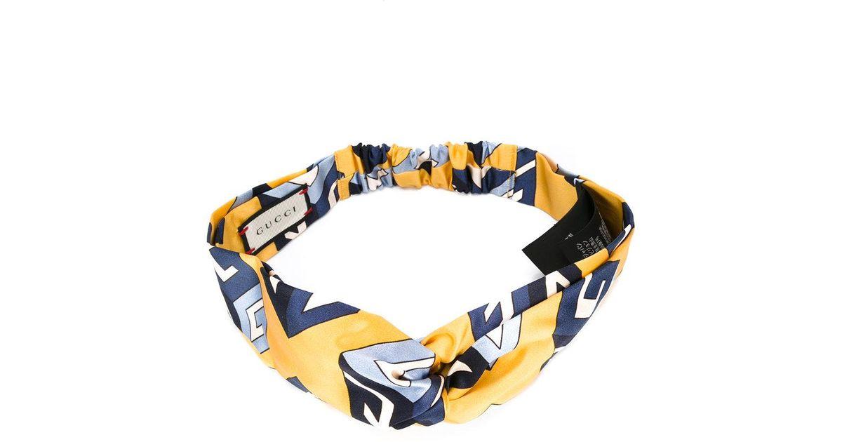 086df76562c Gucci Wallpaper Print Knot Front Headband - Lyst