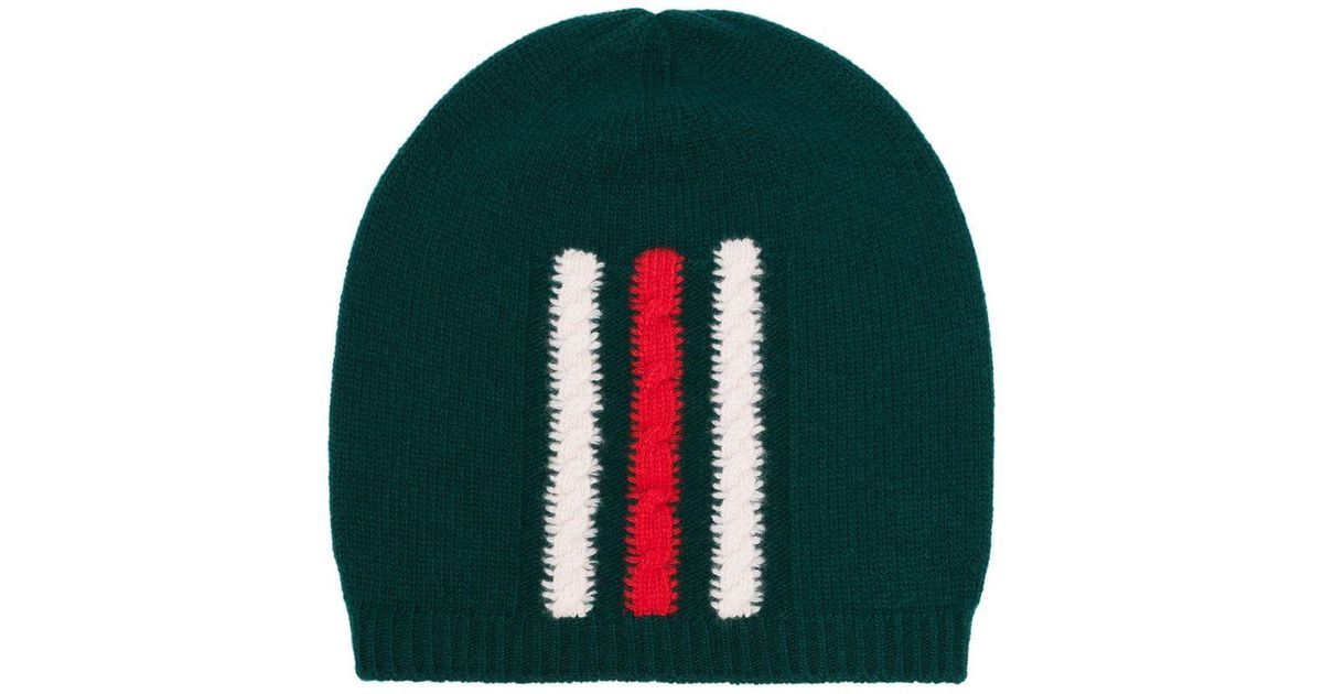 d25eb248abf91 Lyst - Gucci Green Web Knitted Wool Beanie Hat in Green for Men