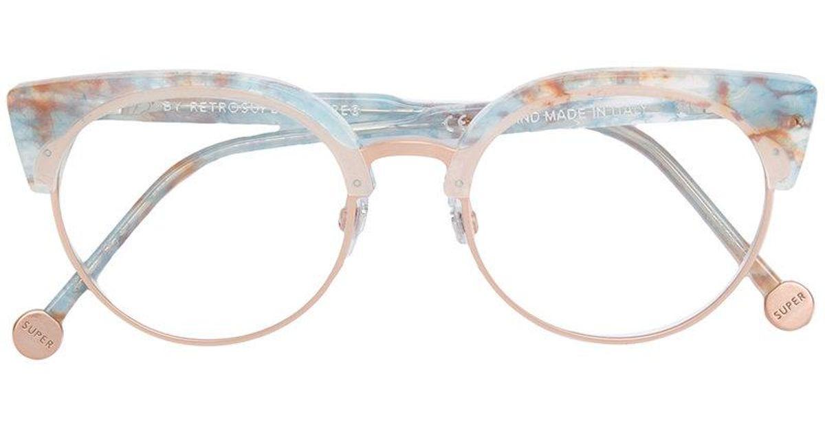 Lyst - Retrosuperfuture Marble Framed Glasses in Blue