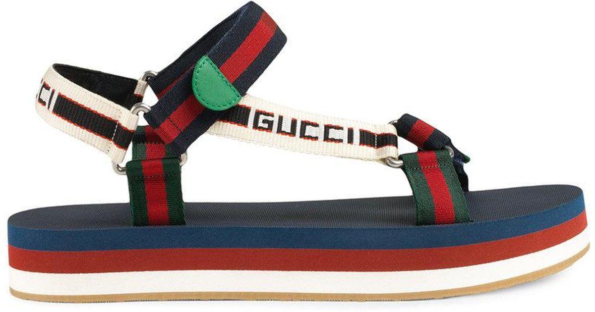 329a8d3f18d Lyst - Gucci Multicolor Bedlam Sandals in Blue for Men