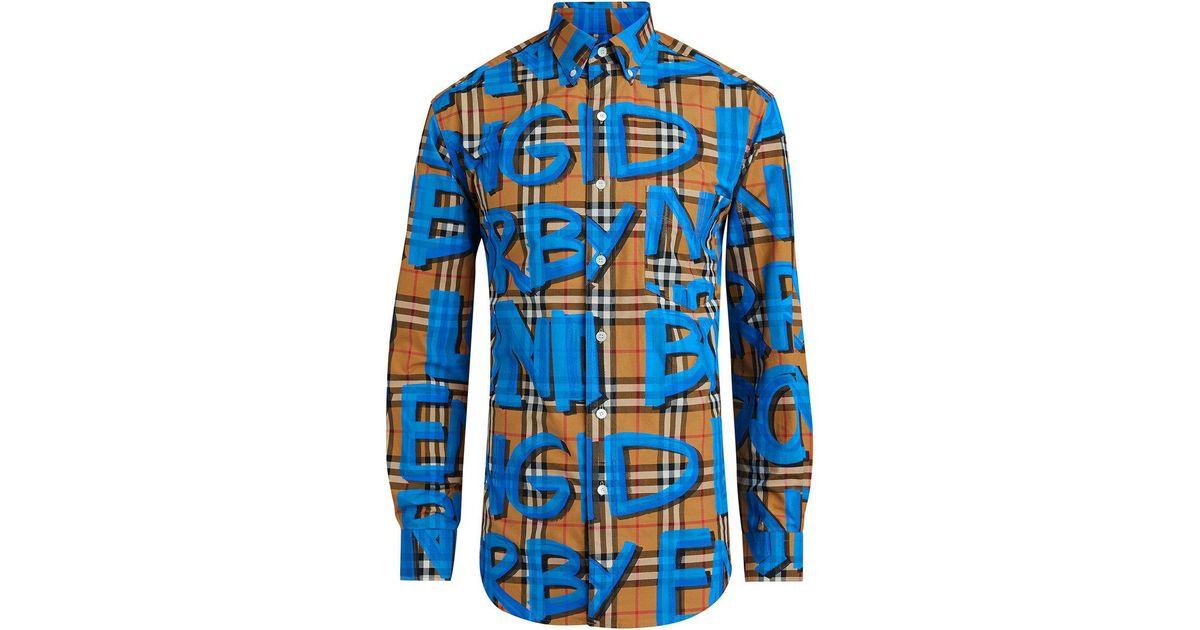 Lyst - Chemise ajustée à imprimé graffiti Burberry pour homme en coloris  Bleu 79d10e828a9