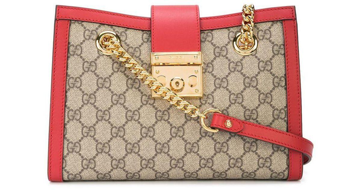 17ef5fb2598 Gucci Padlock GG Supreme Canvas Shoulder Bag in Brown - Lyst