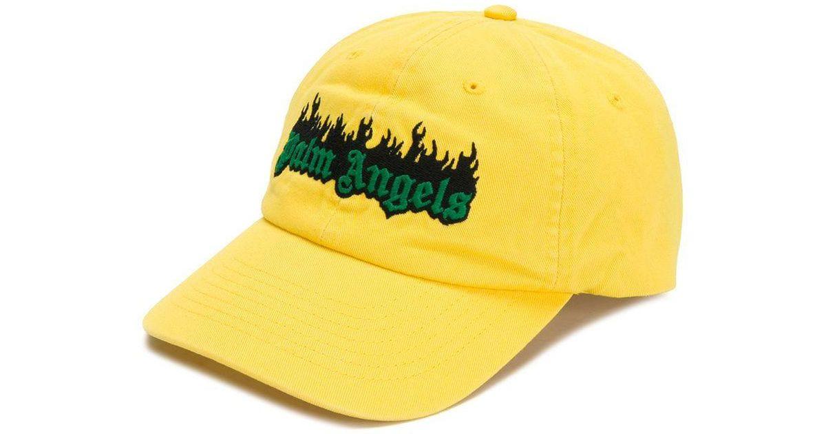 fa34665d68422 Lyst - Palm Angels Burning Logo Cap in Yellow