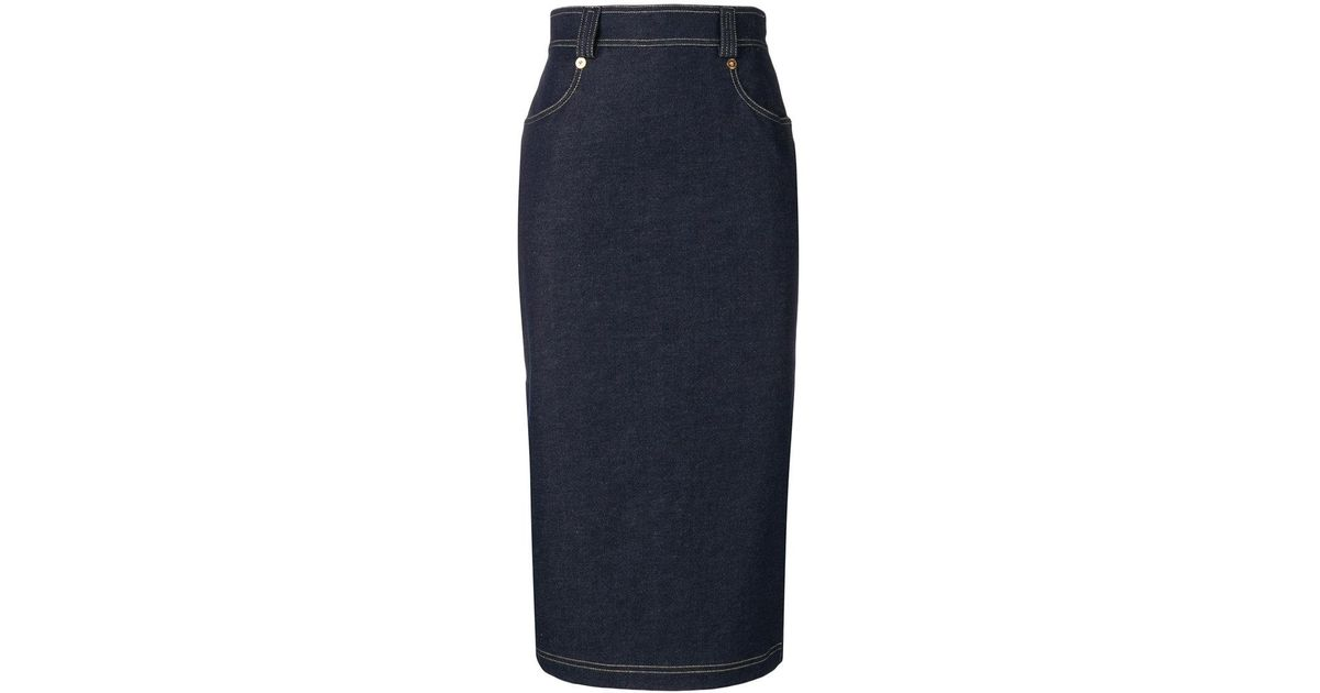 3ce69588a3 Versace Denim Midi Skirt in Blue - Lyst