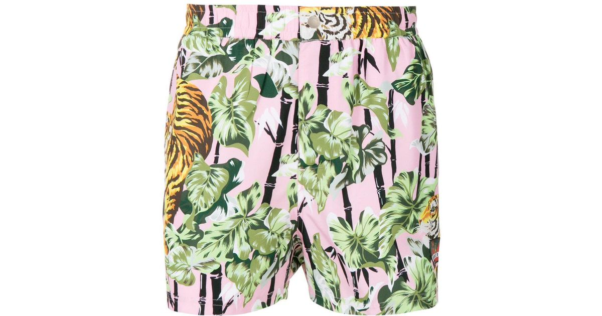 44f822fe42 Lyst - KENZO Tiger Print Swim Shorts in Green for Men