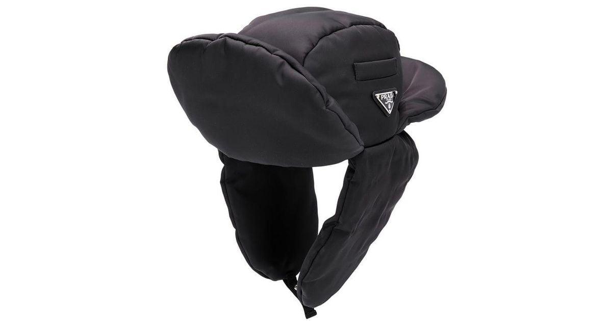 abd3e45e Prada Padded Trapper Hat in Black - Lyst