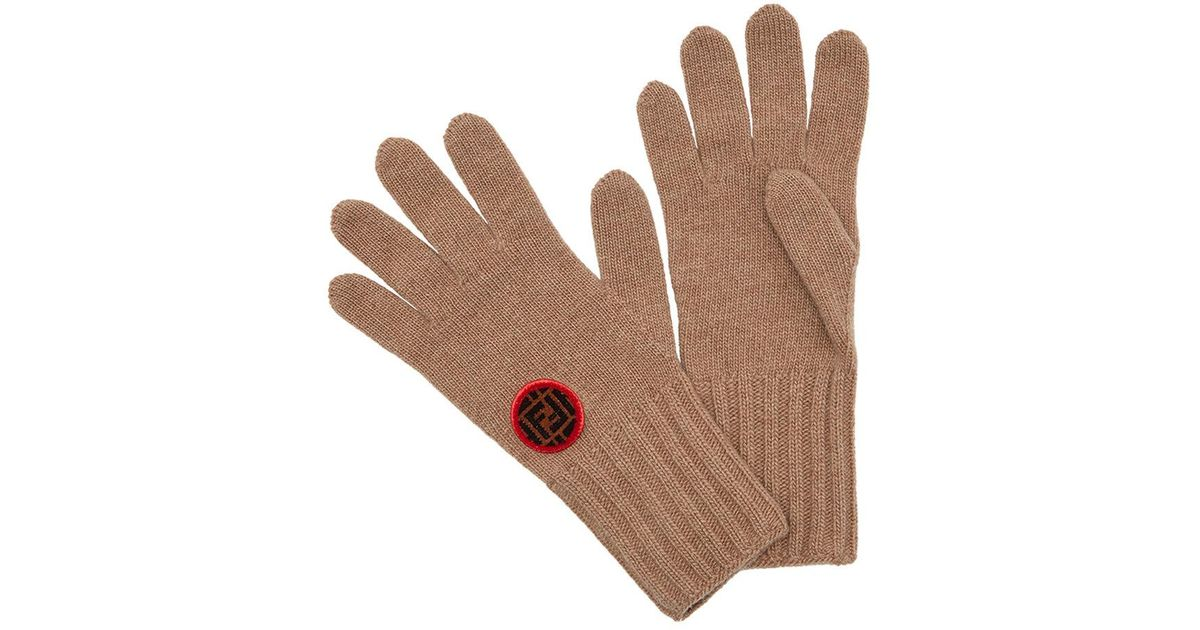 5b4dc951e90 Lyst - Fendi Logo Patch Knitted Gloves in Brown