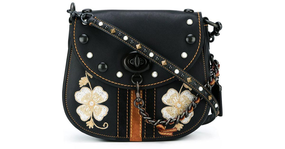 Coach Embroidered Flower Crossbody Bag In Black - Lyst