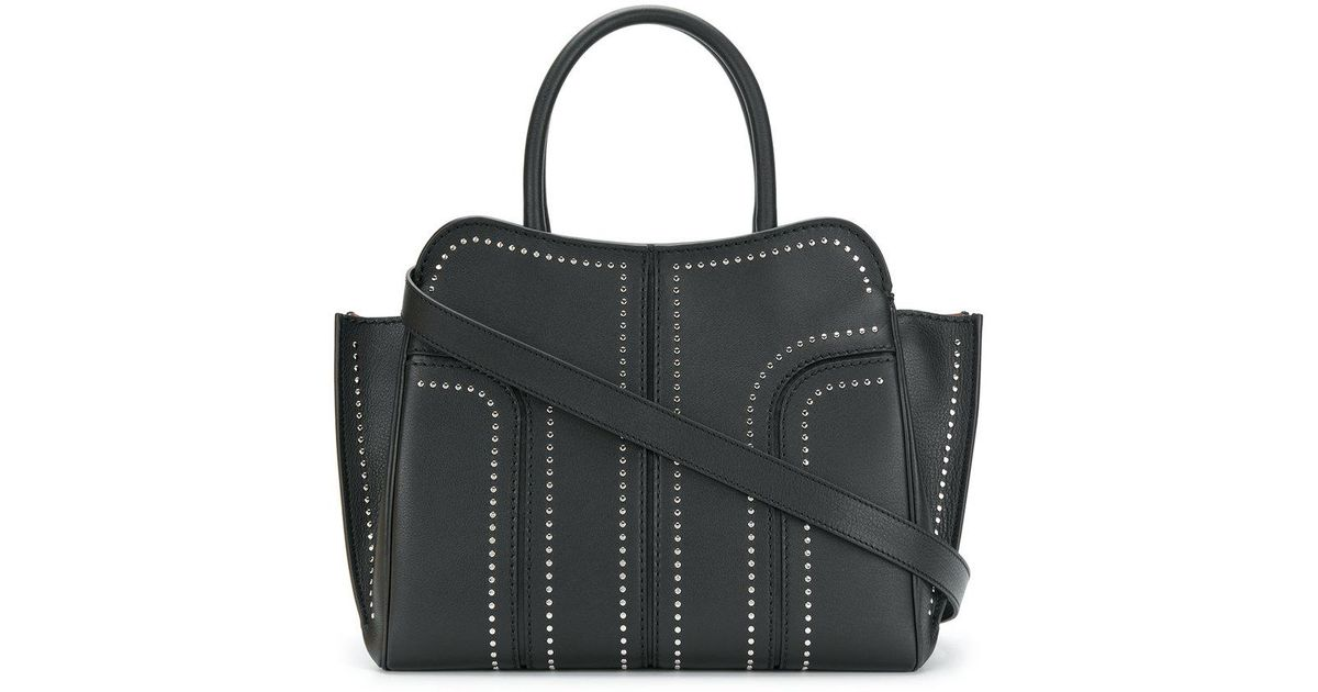Tod's Grand Sac Shopping Zippé Sella Clouté en Cuir de Veau Noir 17YDmhX8