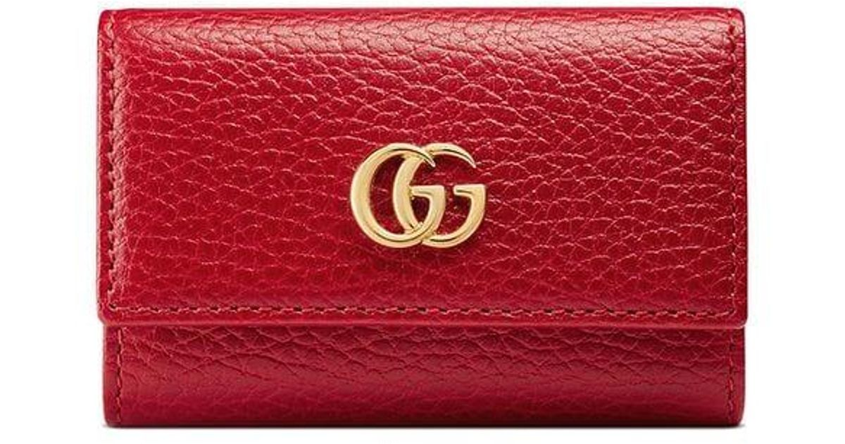 c173c4f4883 Gucci GG Marmont Leather Key Case in Red - Lyst