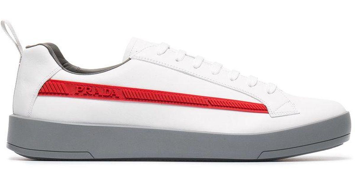 76d4c3fa0b8 Prada Logo Embossed Low-top Sneakers in White for Men - Lyst