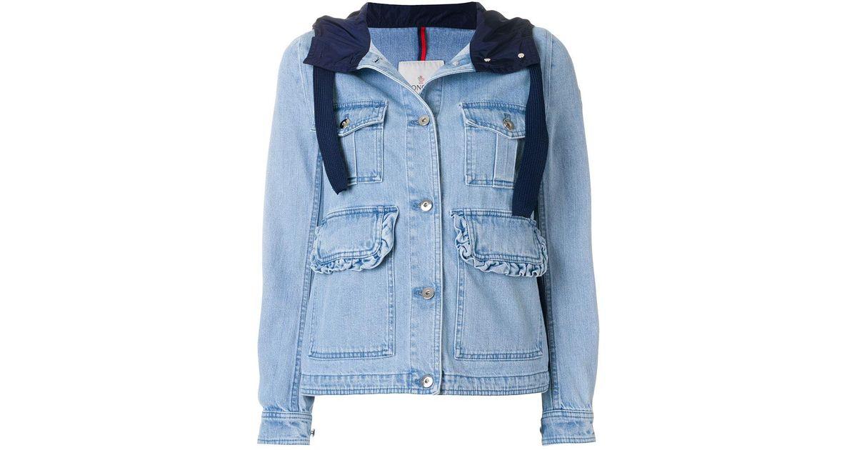 175eec0ae Lyst - Moncler Hooded Denim Field Jacket in Blue