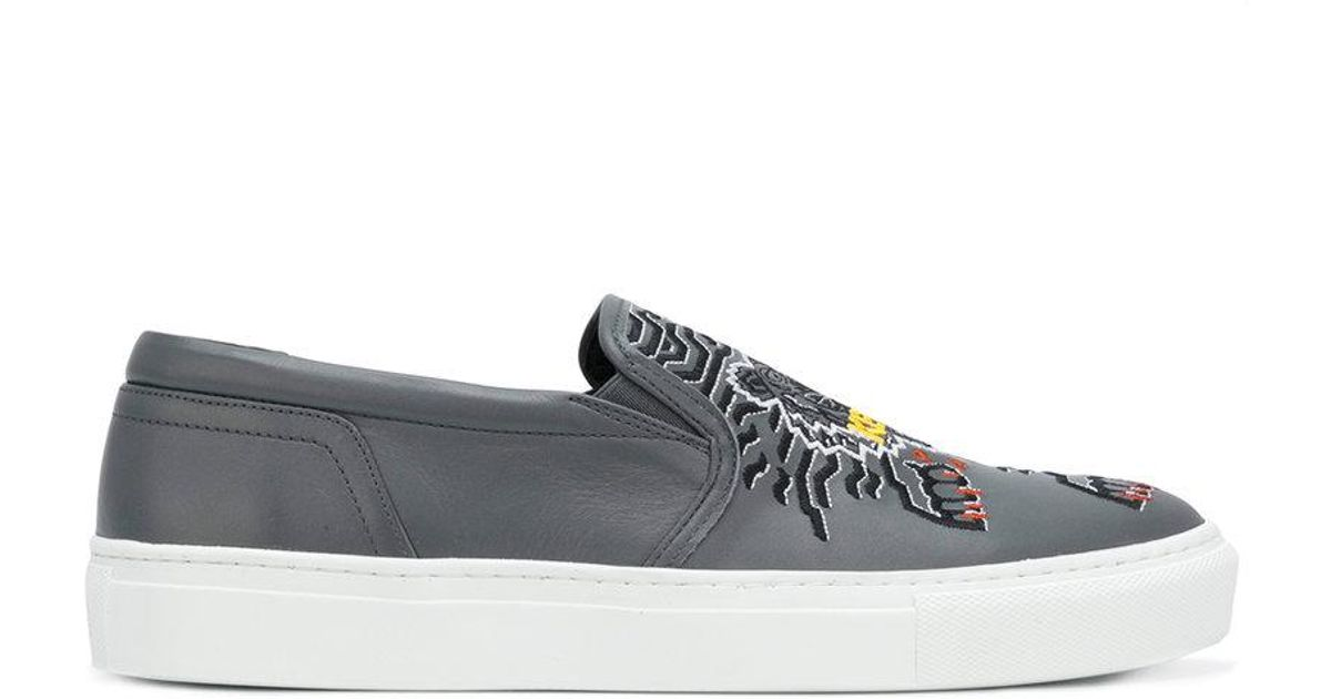 f7b9a14ec Lyst - KENZO Tiger Slip-on Sneakers in Gray