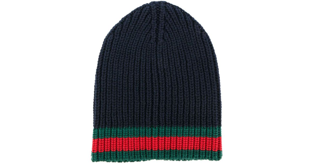 5db62dbefcf Lyst - Gucci Gg Vintage Web Ribbed Beanie in Blue for Men
