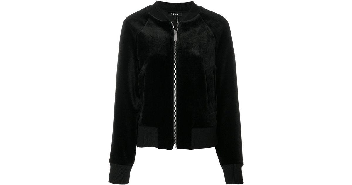 709566995 DKNY - Black Velvet Bomber Jacket - Lyst