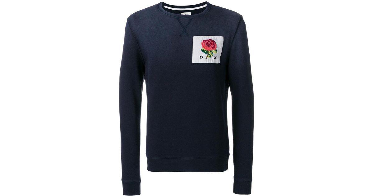Lyst kent & curwen rose crewneck sweatshirt in blue for men