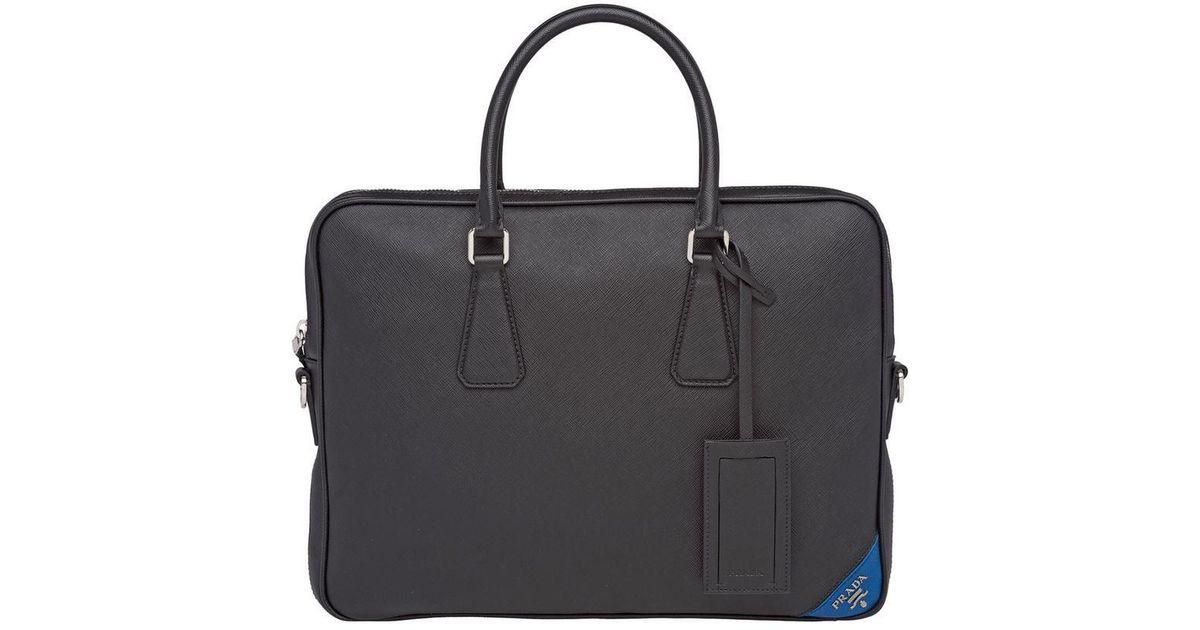 fc6d6b3d6e5a Prada Saffiano Laptop Bag in Black for Men - Lyst