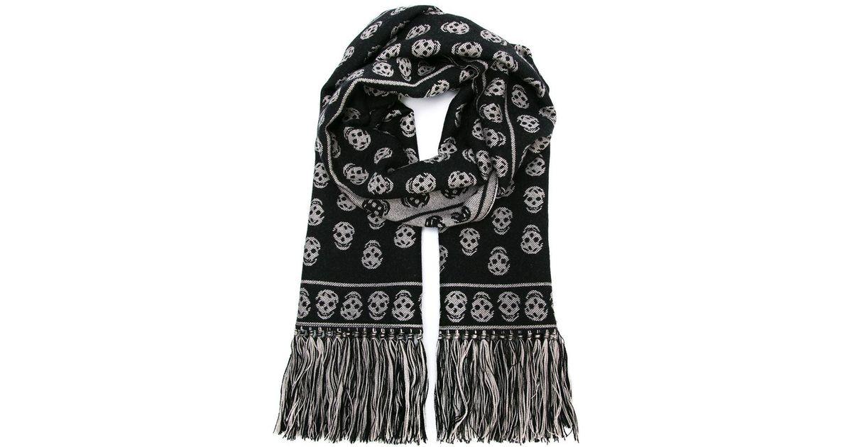 Lyst Alexander Mcqueen Skull Knit Scarf In Black For Men