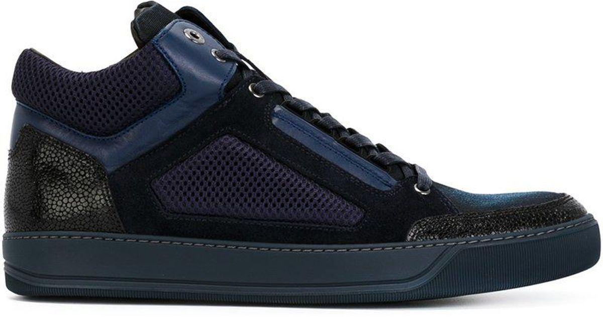 Lanvin Chaussures De Sport Salut-dessus Texturées - Bleu SCvTBRc