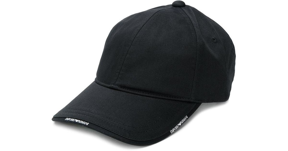 671eb2bb Emporio Armani Logo-trim Cap in Black for Men - Lyst