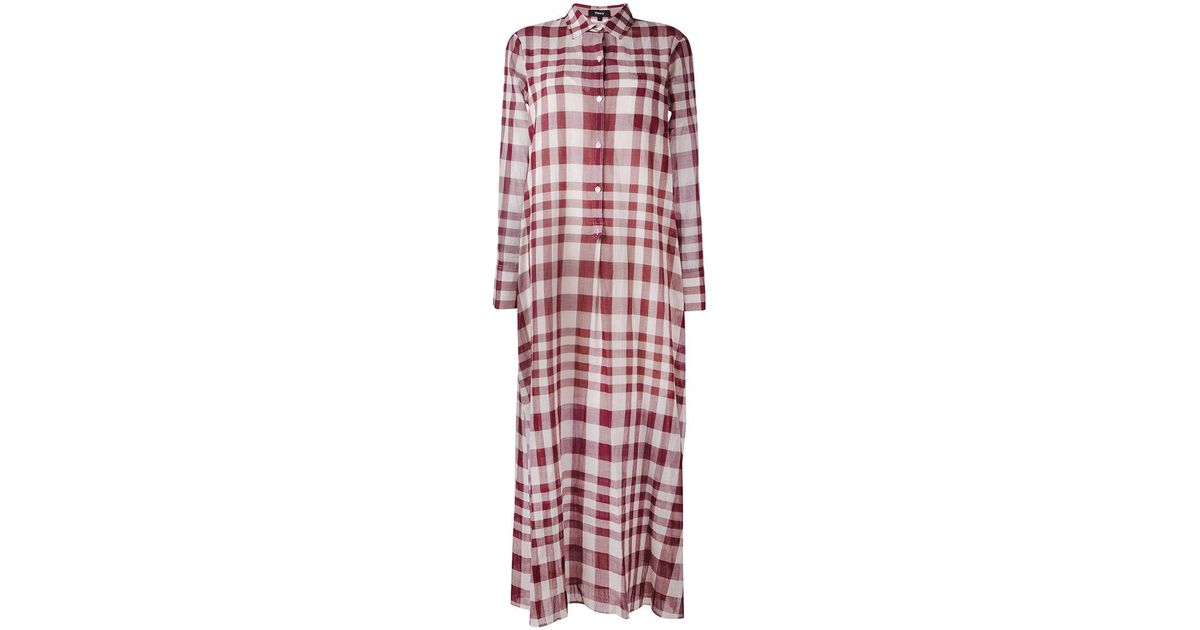 9981ab6ed4 Theory Plaid Maxi Shirt Dress in Pink - Lyst