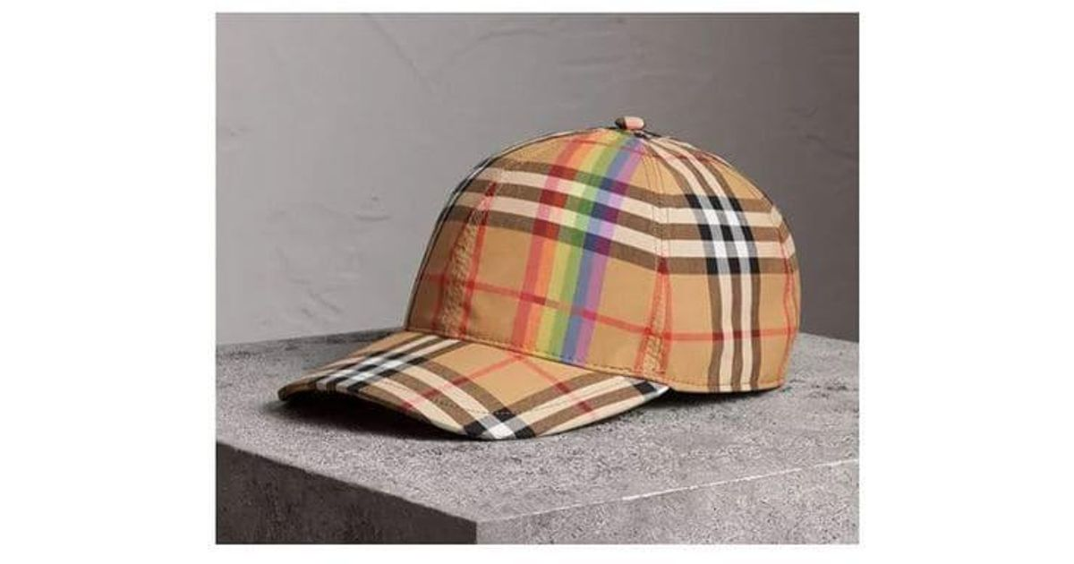 3b1ed98c1d1 Lyst - Burberry Rainbow Vintage Check Baseball Cap in Gray