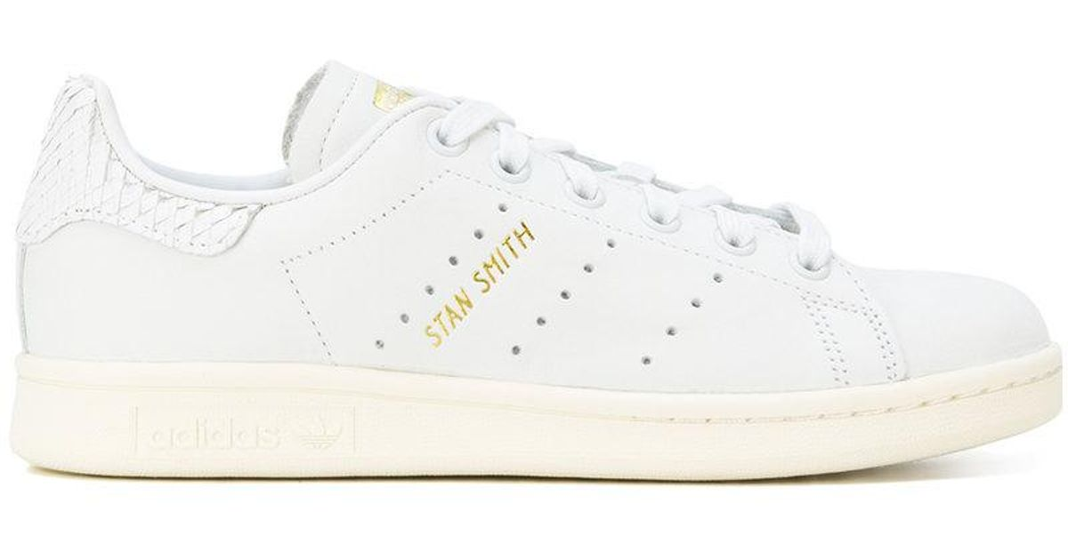Lyst - adidas Stan Smith Snakeskin-effect Sneakers in White cd37fecca