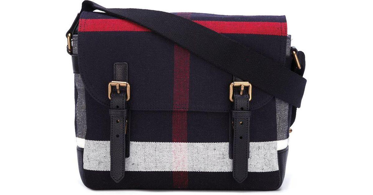 13f3e722a8bb Lyst - Burberry Plaid Messenger Bag in Black for Men