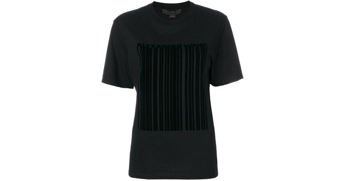 Lyst Alexander Wang Barcode Logo Printed T Shirt In Black