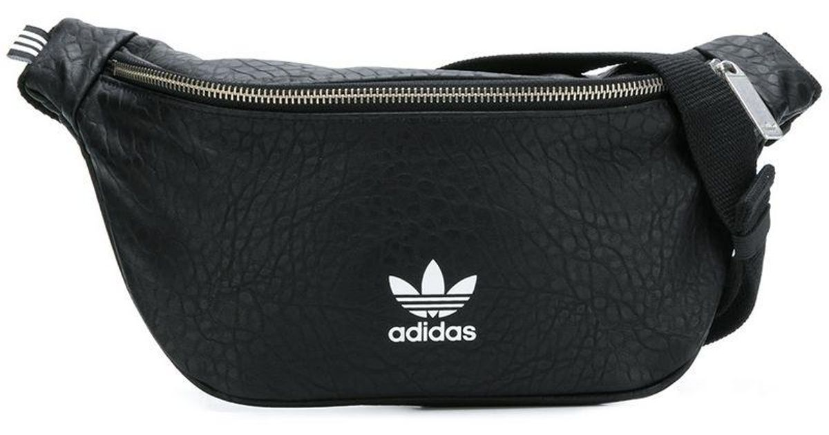 Lyst - adidas Originals Snakeskin-effect Logo Belt Bag in Black for Men