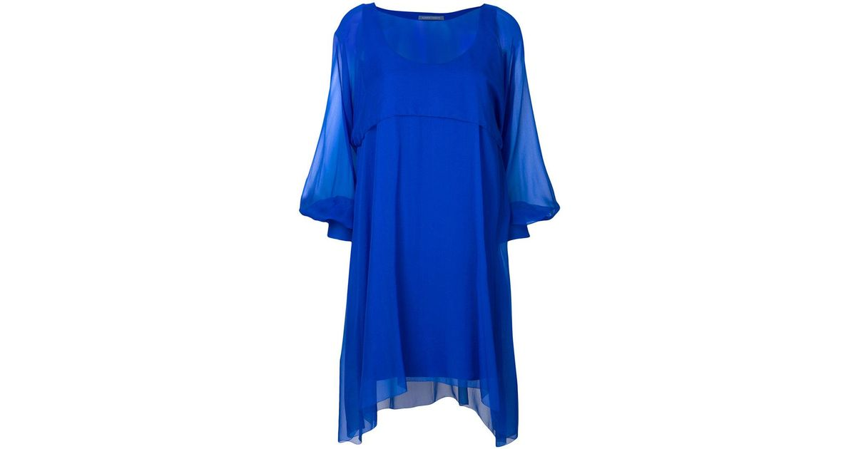 sheer balloon sleeve mini dress - Blue Alberta Ferretti ssfu0PrpcO