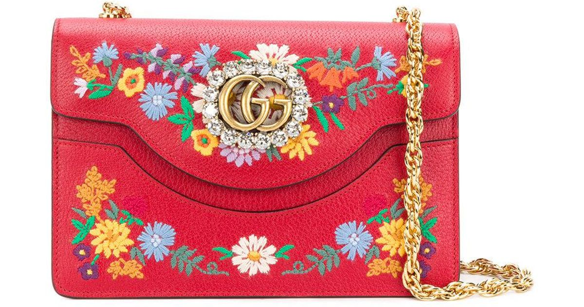 0c7299070eaa Gucci Small Linea Ricami Floral Embroidered Shoulder Bag in Red - Lyst