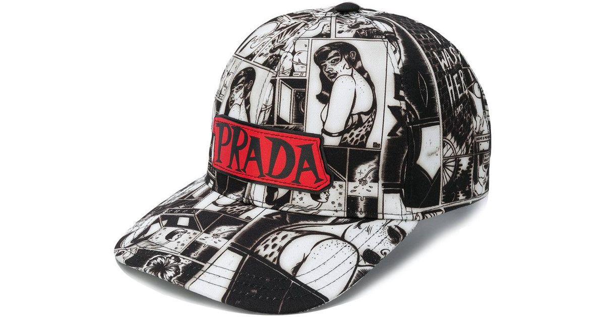 8a442f8efa5 Lyst - Prada Pulp Comic Print Cap in Black for Men