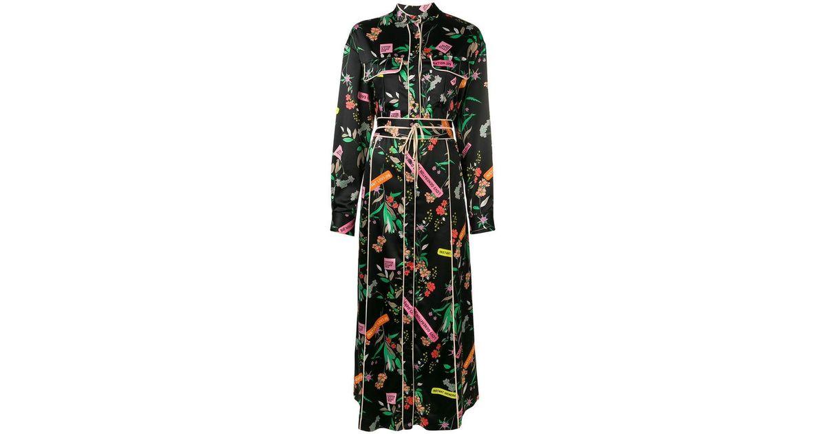 202fabf268f Pinko Rosalinda Floral Maxi Dress in Black - Lyst
