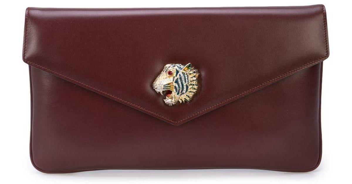 ae1c1f2454ca Gucci Rajah Motif Clutch Bag in Red - Lyst