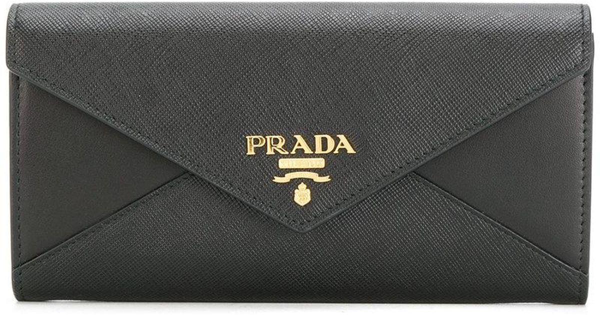 731160a2e8f8 ... norway lyst prada envelope long wallet in black 19fe9 0df63