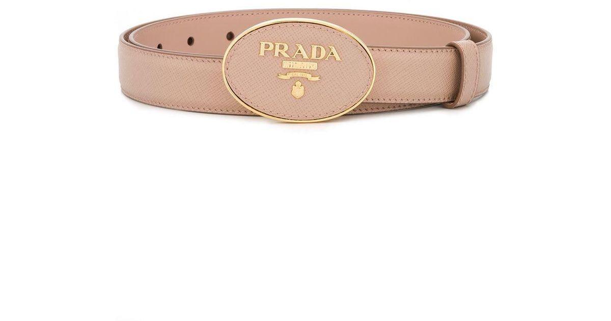 e5bdefe199b7 Lyst - Prada Saffiano Logo Buckle Belt in Pink