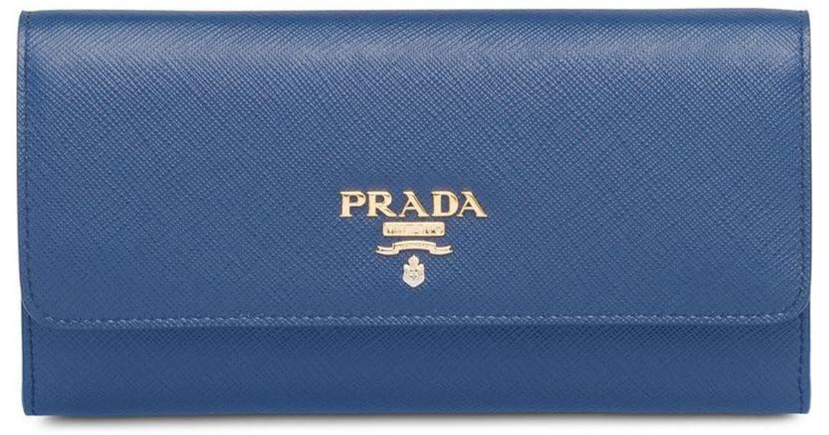 81cd74ac0f5e Prada Logo Plaque Credit Card Wallet in Blue - Lyst
