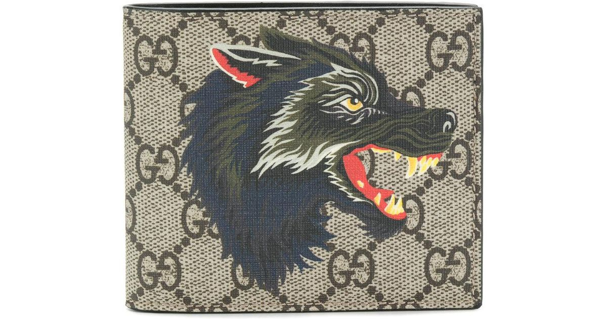 b435c3469b7 Lyst - Gucci Wolf Print Gg Supreme Wallet in Brown for Men