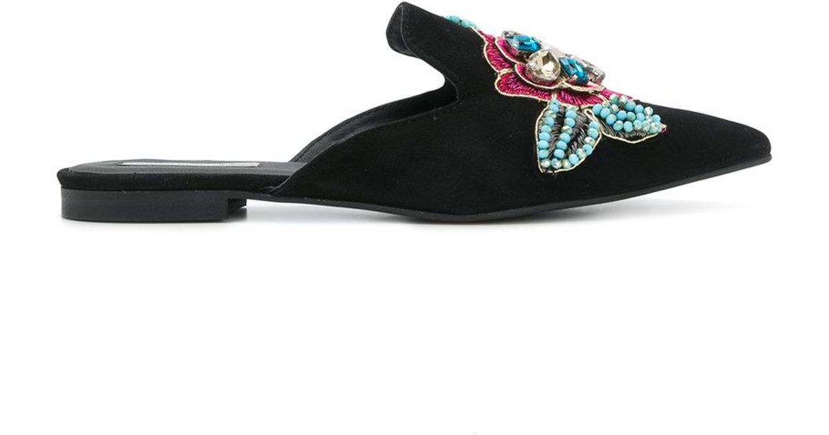 Tosca Blu Rose Pantoufles Embellies - Noir lFv4fX