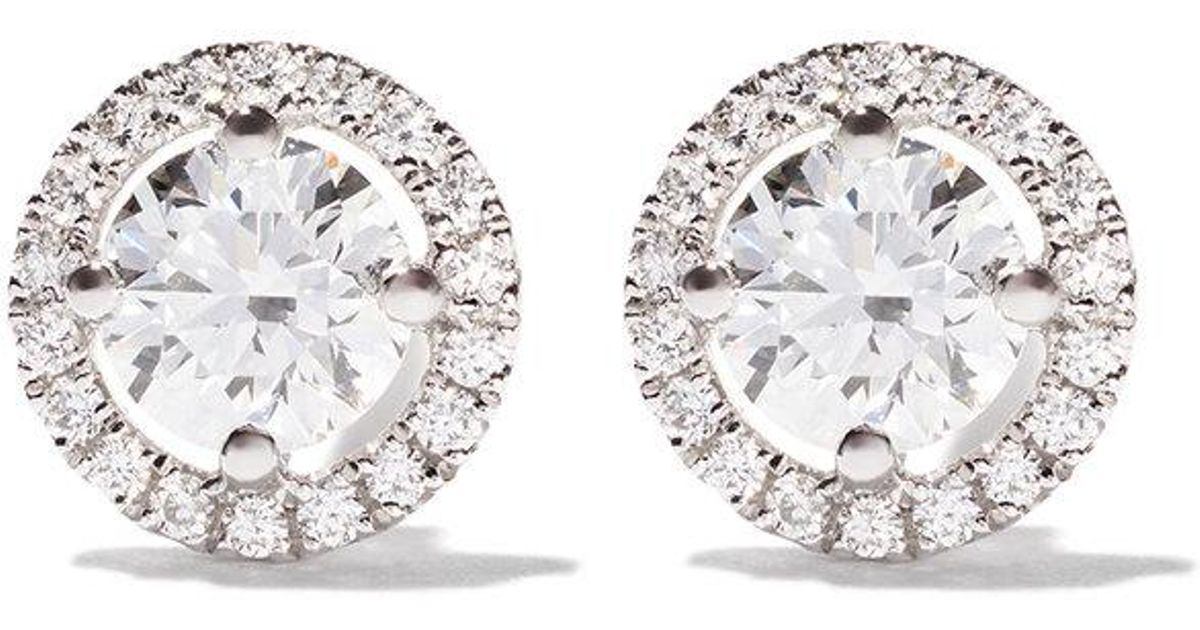1d03a5f00 De Beers 18kt White Gold My First Aura Diamond Stud Earrings in White - Lyst