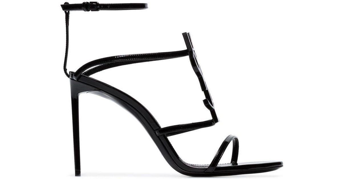 08ccace0d0a Lyst - Saint Laurent Cassandra 95 Sandals in Black - Save 24%