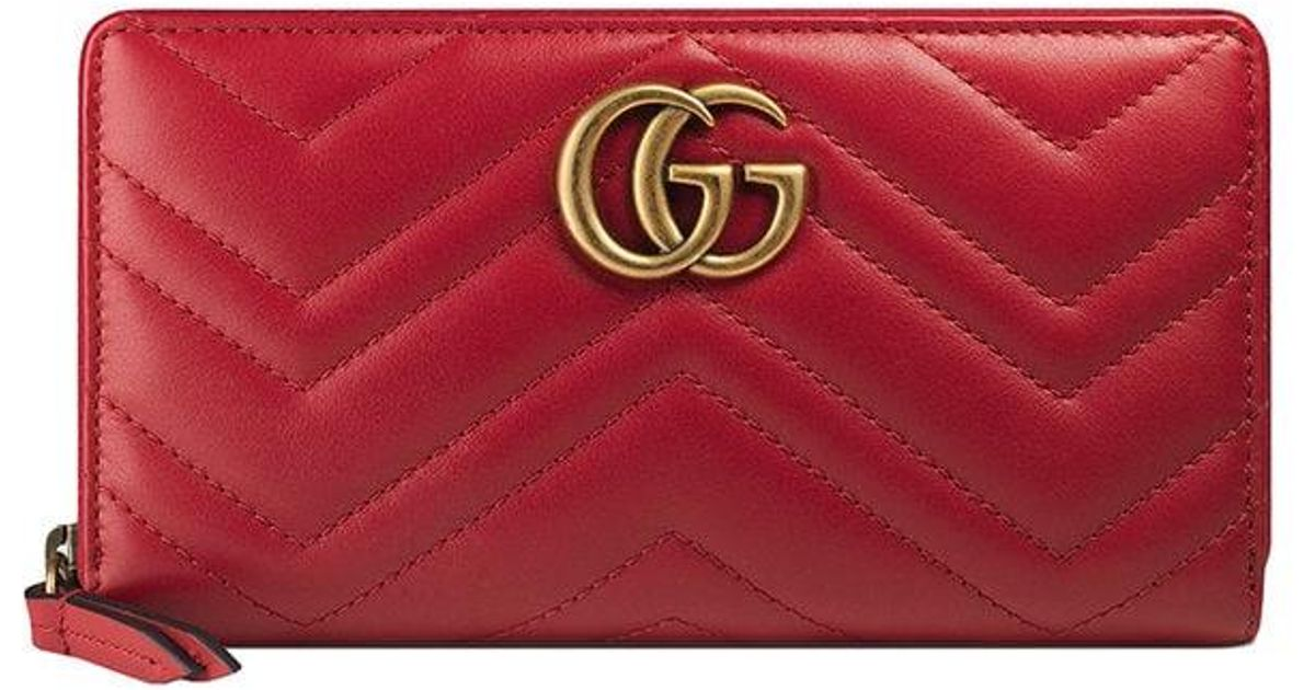 fc5eb58eb1e Gucci GG Marmont Matelassé Wallet in Red - Save 7% - Lyst
