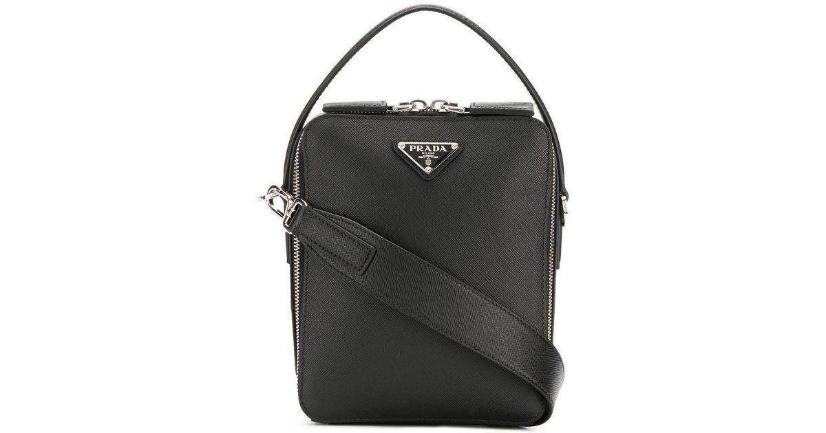 591adce7f181 Prada Brique Saffiano Leather Bag in Black for Men - Save 10% - Lyst